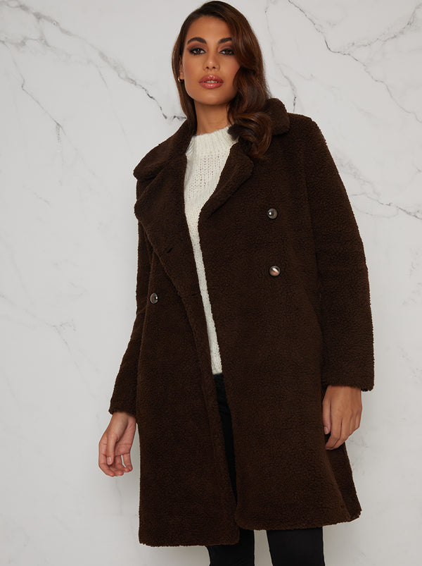 Faux Fur Teddy Double Breasted Coat in Brown