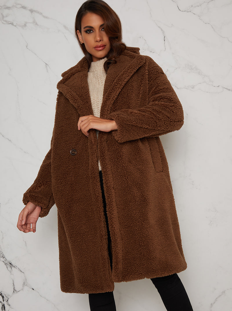 Faux Fur Teddy Coat with Notch Lapels in Brown