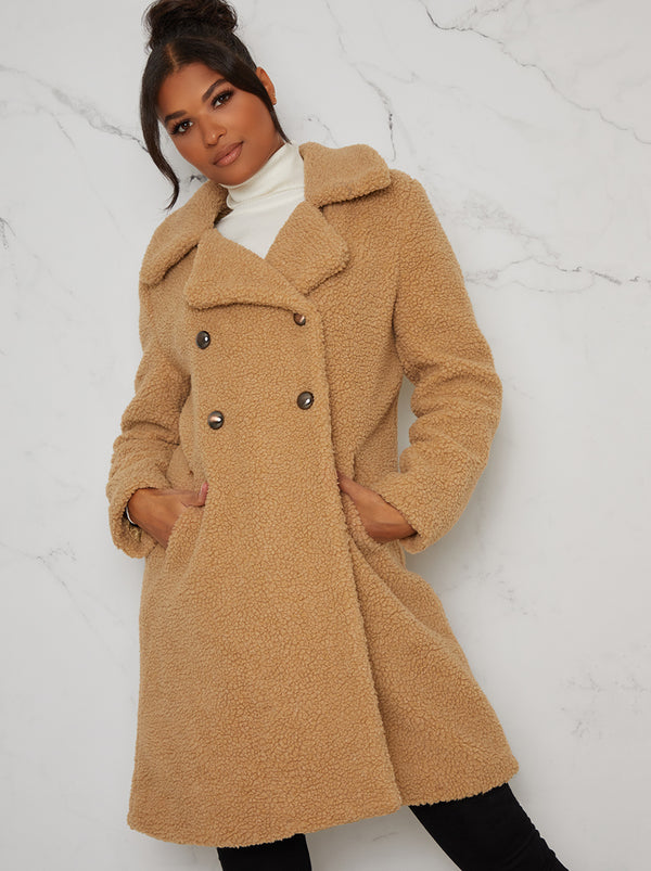 Faux Fur Teddy Double Breasted Coat in Beige