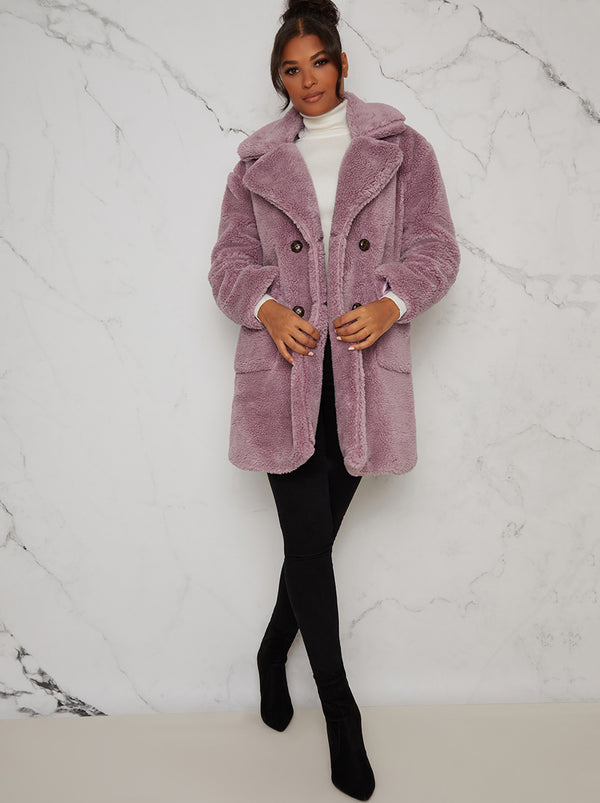 Faux Fur Teddy Double Breasted Coat Jacket in Purple