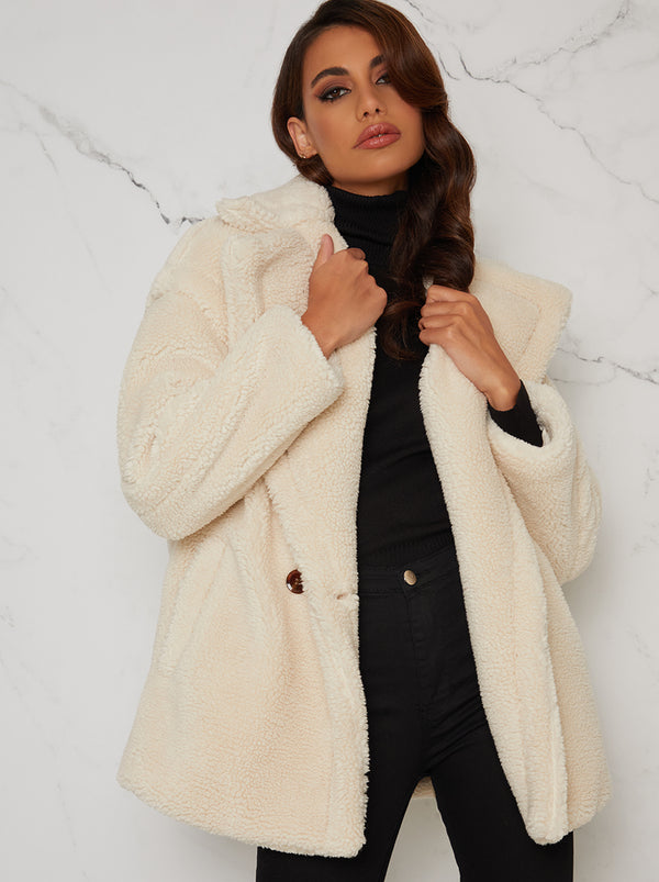 Faux Fur Teddy Coat Double Breasted in Cream