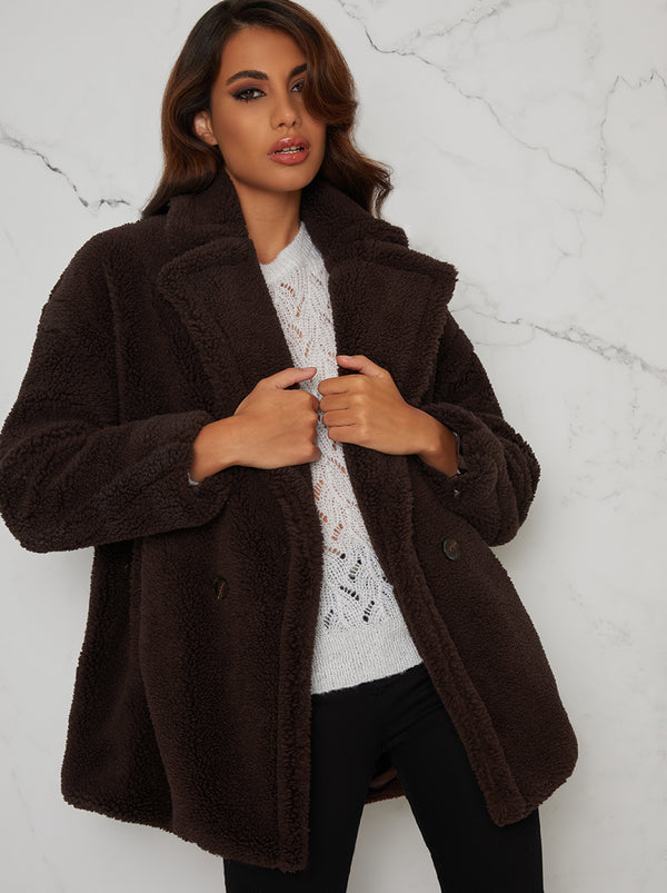 Faux Fur Teddy Coat Regular Fit in Brown