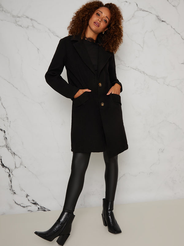 Tailored Coat with Notch Lapels in Black