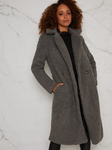 Teddy Coat with Notch Lapels in Grey