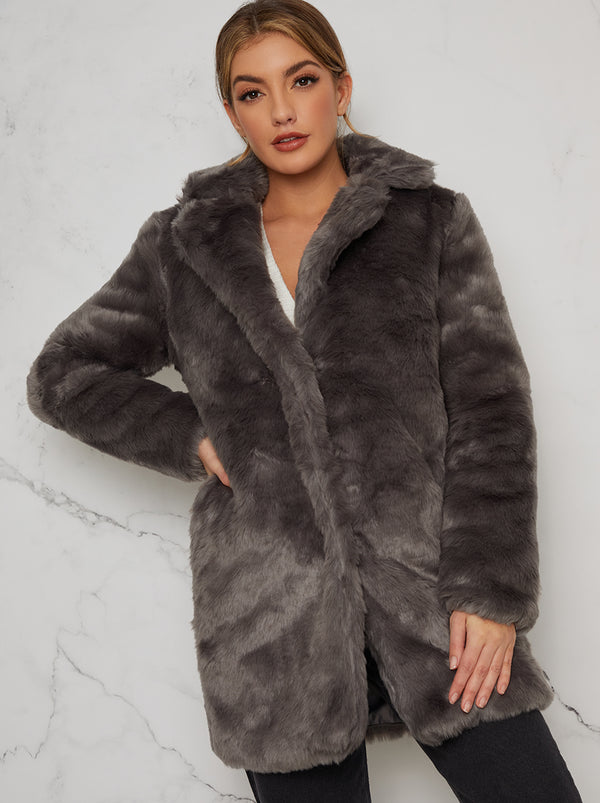 Faux Fur 3/4 Length Coat In Grey