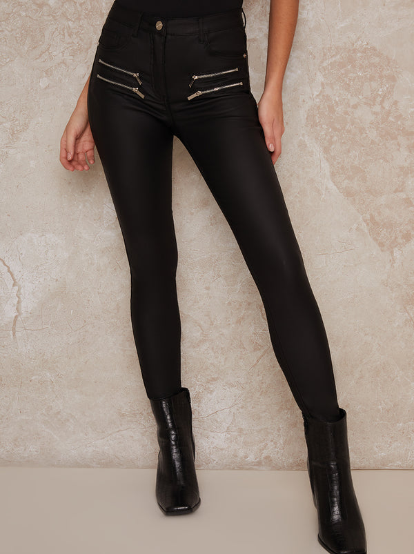 Leather Look Zip Detail Skinny Trousers In Black