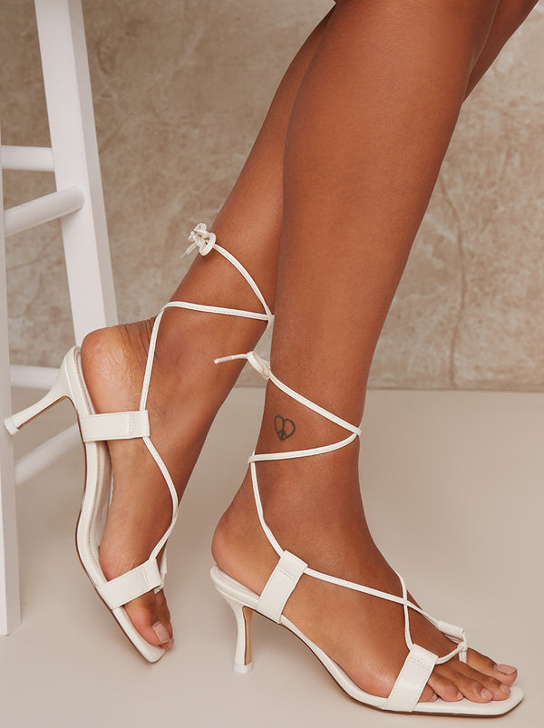 Mid Heel Strappy Lace Up Sandals in White