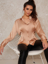 Satin Pleat Waist Button Through Shirt In Champagne