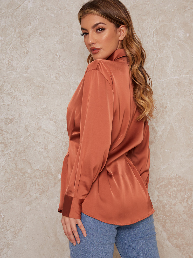 Satin Pleat Waist Button Through Shirt In Orange