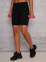 High Rise Bodycon Fit Gym Shorts in Black