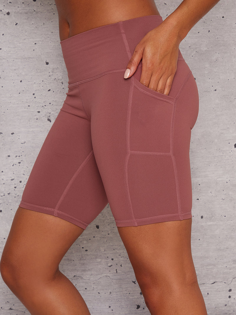 High Rise Bodycon Fit Gym Shorts in Pink
