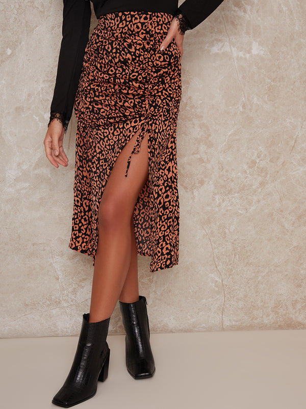 Leopard Print Ruched Midi Skirt in Brown