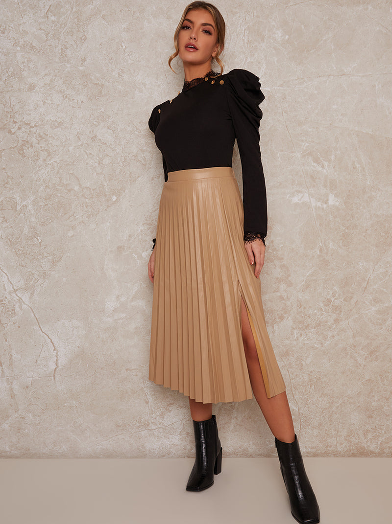 Leather Pleated Skirt with Side Split in Beige