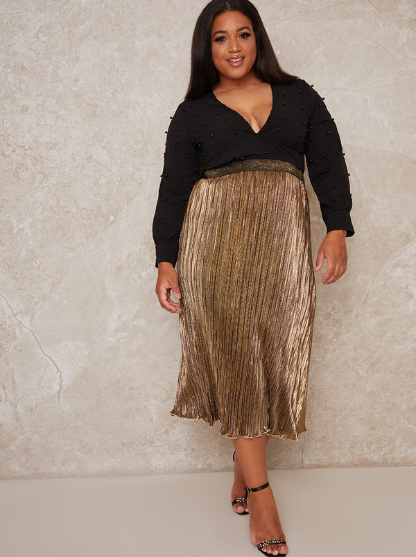 Plus Size Plisse Glitter Midi Skirt in Gold