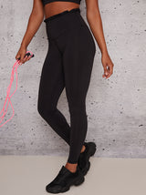 Fitted Gym Leggings with Frill Details in Black
