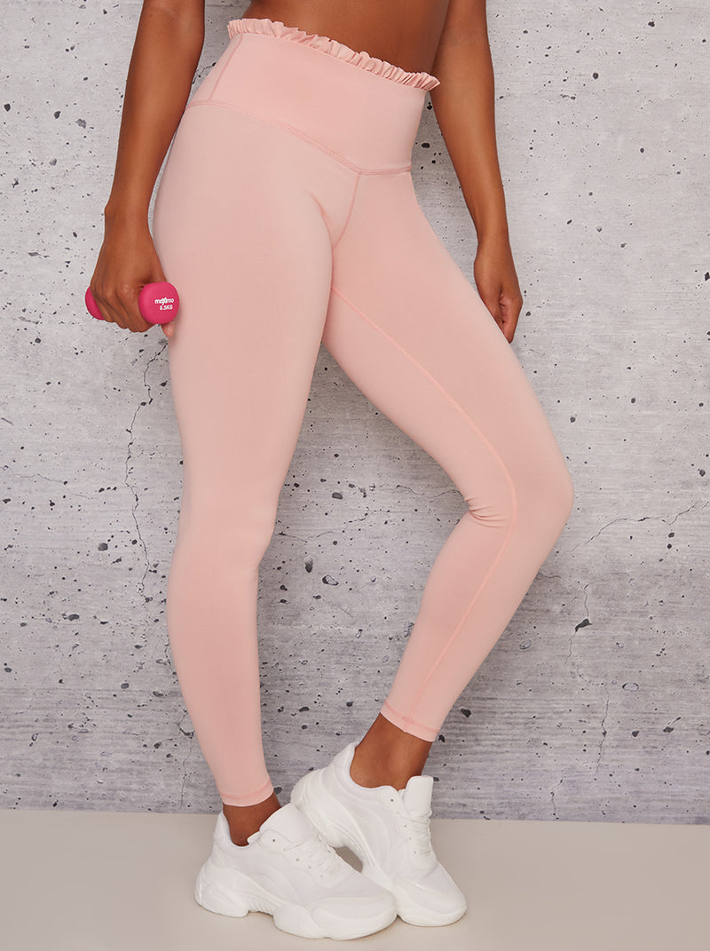 High Waist Frill Detail Sports Leggings in Pink