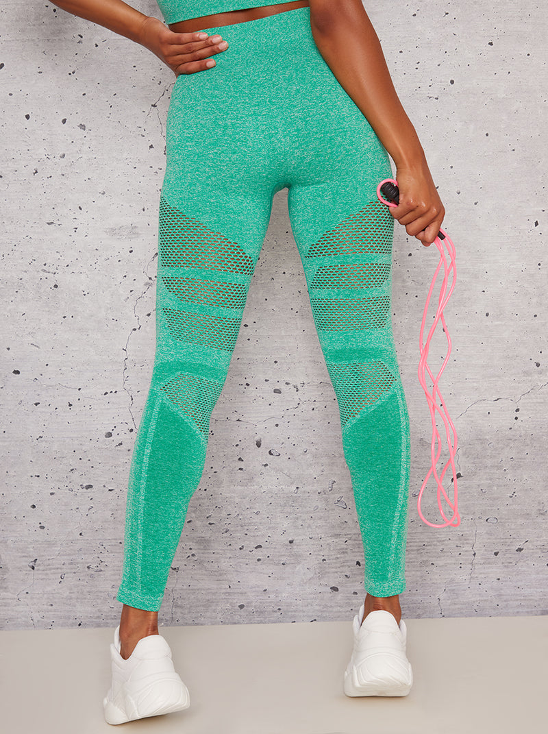 High Rise Eyelet Detail Sport Leggings in Green