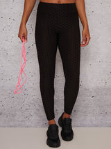 Mid Rise Waffle Detail Gym Leggings in Black