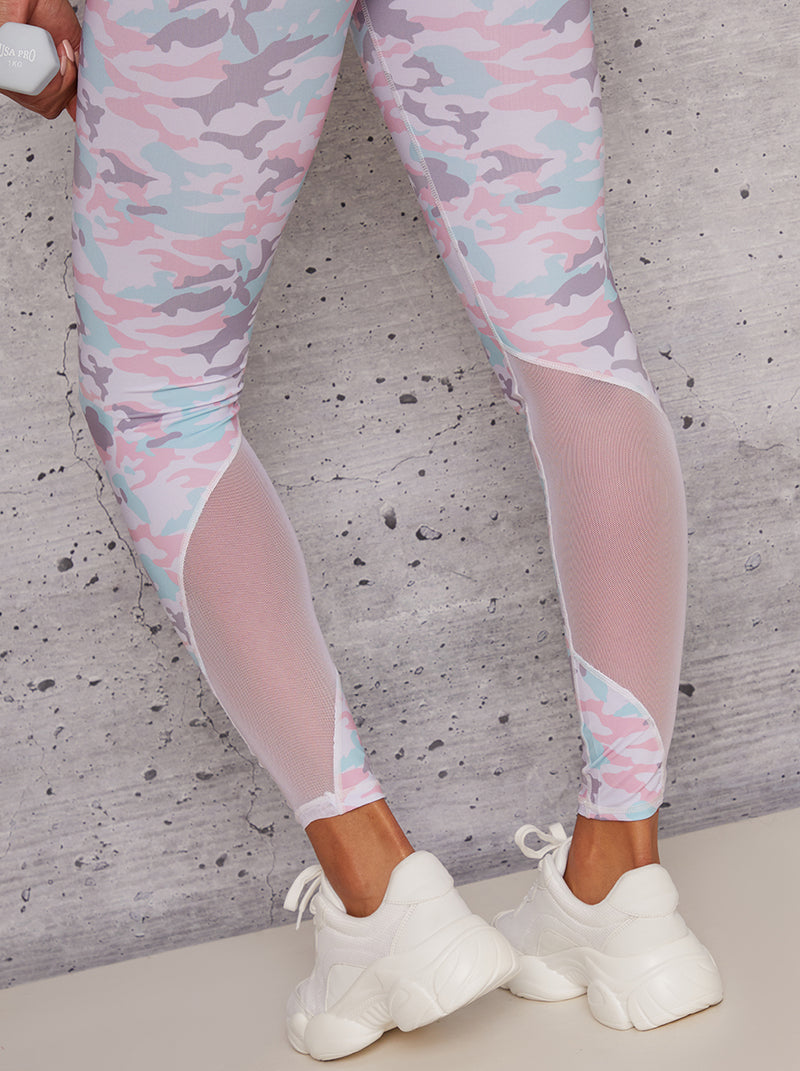 Mid Rise Print Mesh Detail Sport Gym Leggings in White