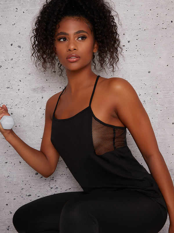 V Neck Cami Strap Sports Top in Black
