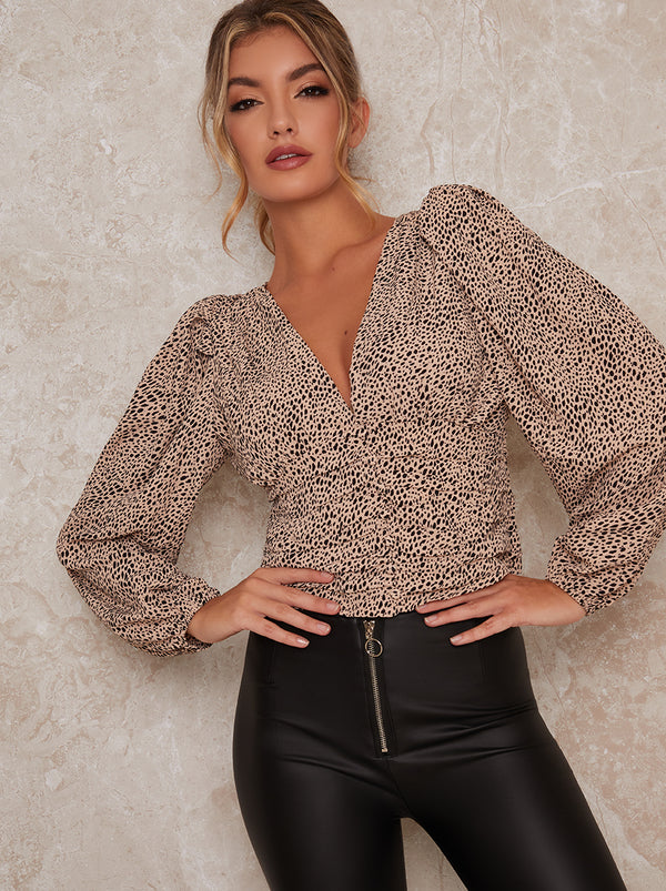 Balloon Sleeve Animal Print Top in Beige