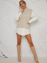 Cable Knit Roll Neck Tank Top in Cream