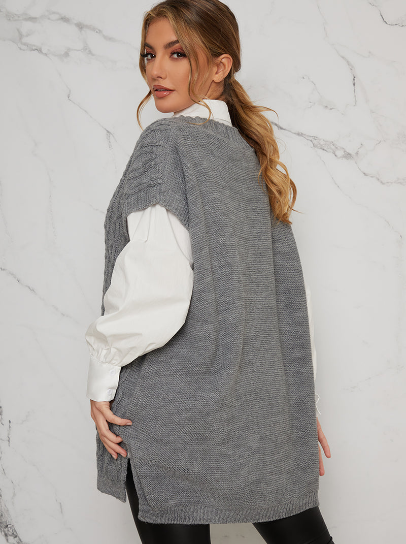 Chunky Cable Knit Oversized Sleeveless Tank Top in Grey