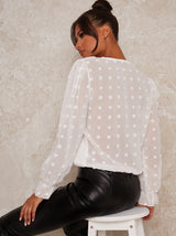 Balloon Sleeve Spot Print Blouse Top in White