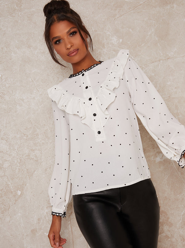 Ruffle Details Long Sleeved Polka Dot Blouse in White