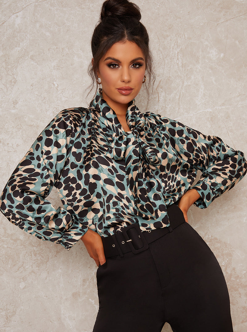 Animal Print Long Sleeved Blouse in Multi