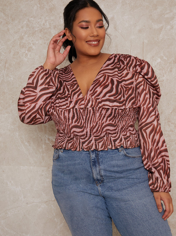 Plus Size Animal Print Top in Pink