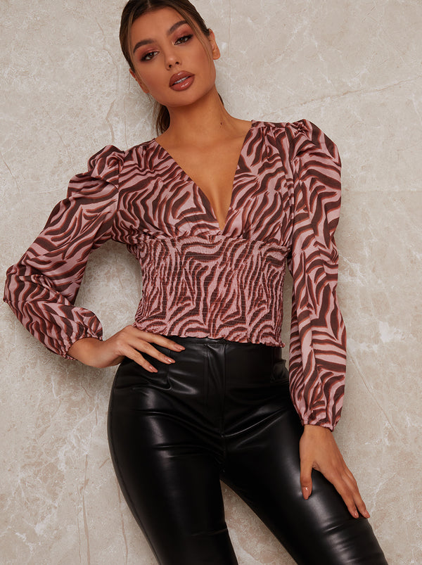 Animal Print Balloon Sleeve Top in Pink