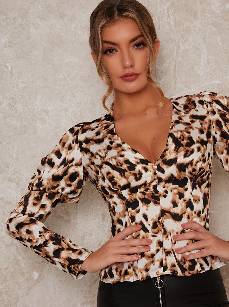 Puff Should Long Sleeve Animal Print Top in Multi