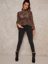 High Neck Leopard Print Fluted Top In Multi