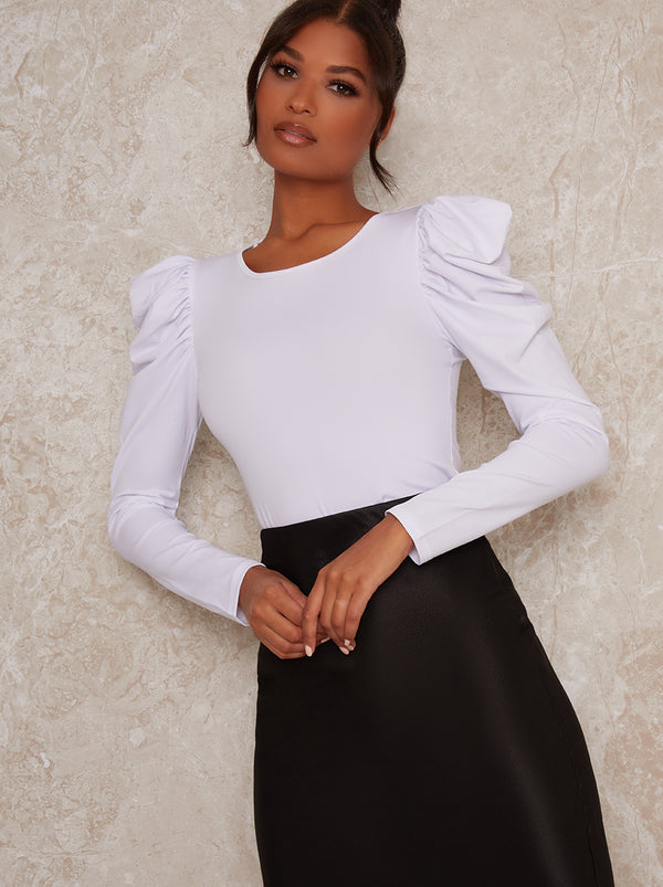 Ruched Puff Long Sleeve Top in White