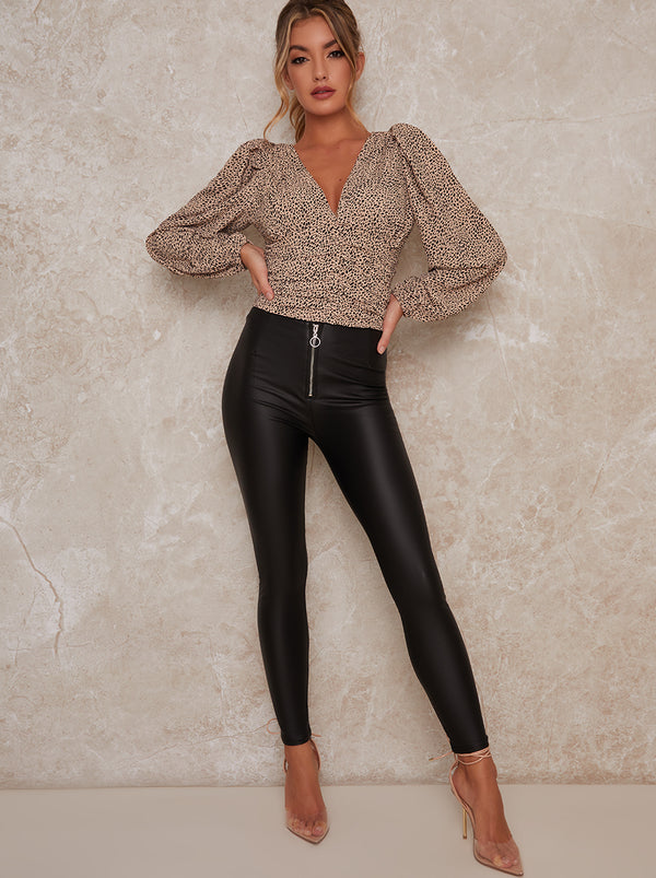 Mid Rise Leather Look Zip Skinny Fit Trousers in Black