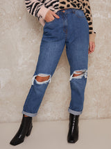 Ripped High Rise Boyfriend Jeans in Blue