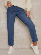 Mom High Waist Jeans Relaxed Fit in Blue