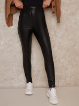 Leather Look Skinny Fit Trousers in Black