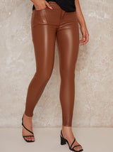 Mid Rise Leather Look Skinny Trousers in Tan