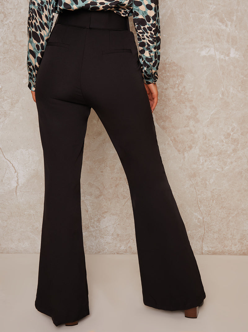 High Waist Belted Flare Trousers in Black