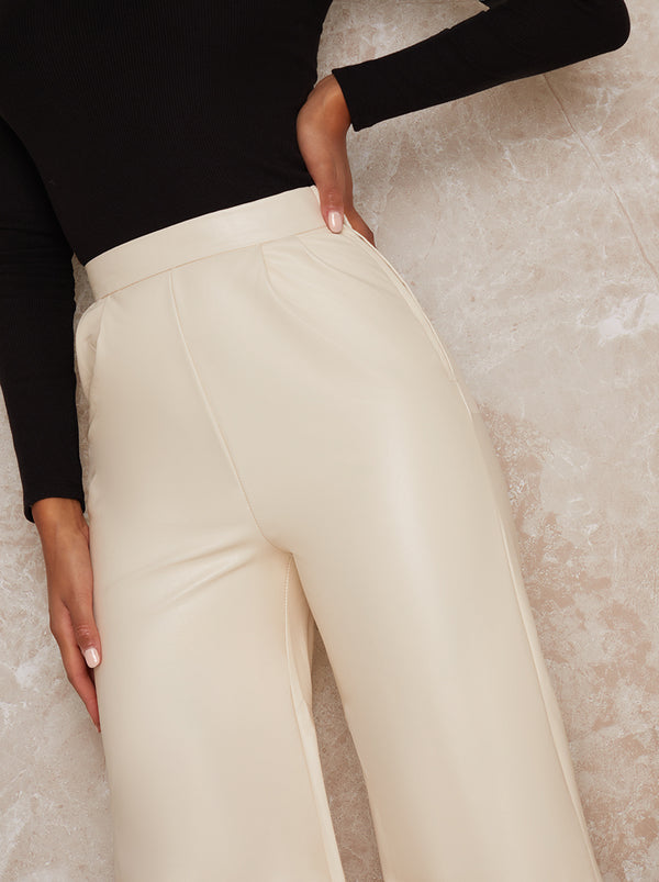 Leather Wide Leg Trousers in Cream