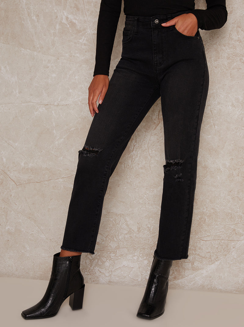 Mid Rise Slim Fit Ripped Washed Look Jeans in Black