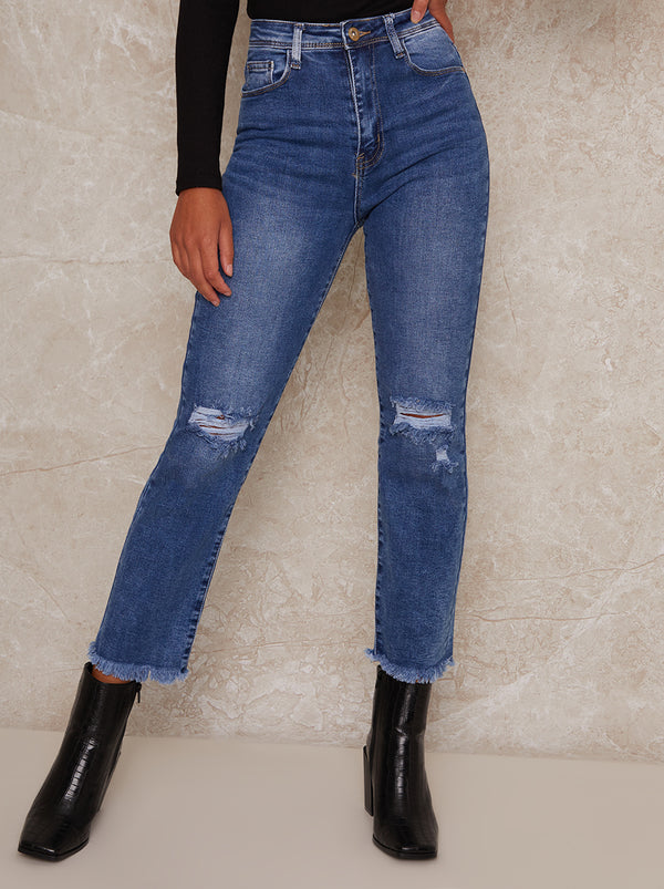 Mid Rise Slim Fit Ripped Jeans in Blue