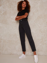 High Rise Mom Jeans in Black