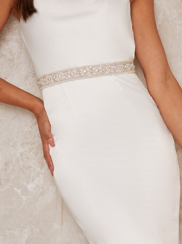 Bridal Diamante And Pearl Belt with Ribbon Tie in White
