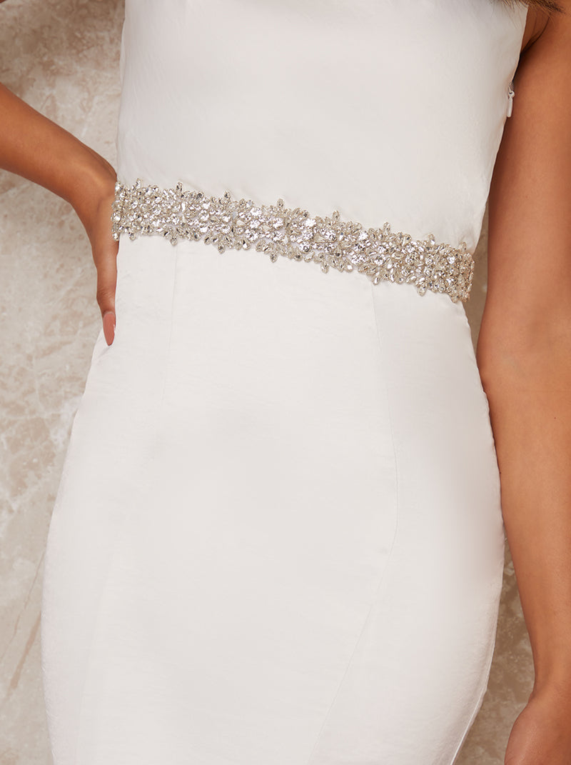 Bridal Embellished Belt with Ribbon Fastening in White