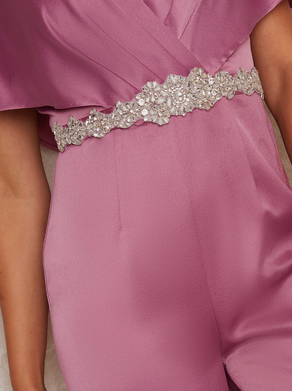 Diamante Belt with Ribbon Finish in Pink