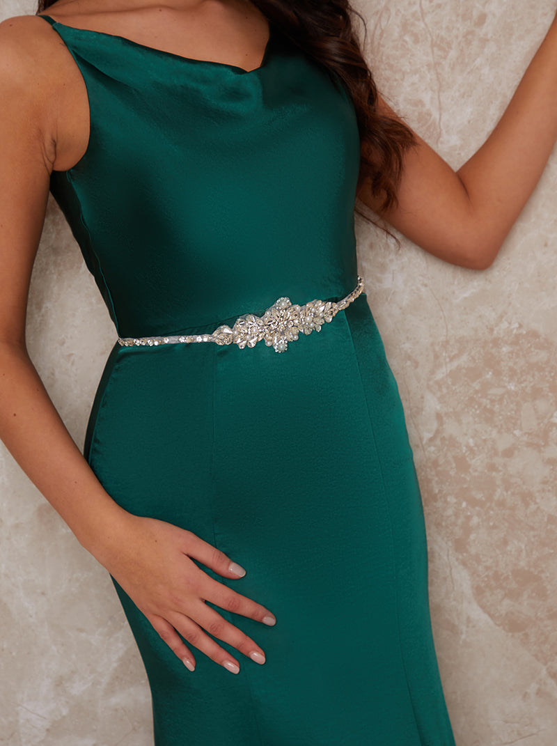 Diamante Belt With Ribbon Fastening In Green