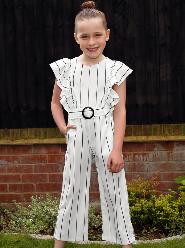 Girls Stripe Belted Ruffle Jumpsuit in White